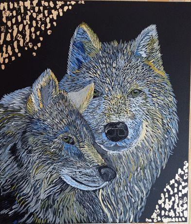 Картина маслом на холсте Волки Волк Верность пара волков