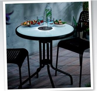 EXTRA Stolik z podświetleniem LED Ogród wodoodporny Piękny NOWY