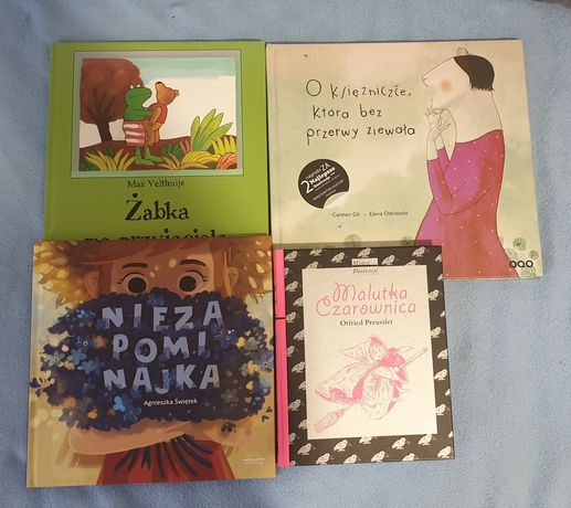 Zestaw 4 książek dla dzieci Niezapominajka, Żabka, i księżniczce..