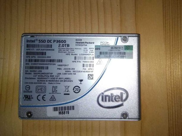 Продам Intel SSD DC P3600 2TB 2.5'' NVMe 2.0T SSD Chia Чиа mining