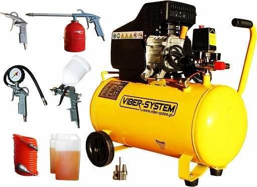 Kompresor olejowy 50L Viber-System + wyposażenie