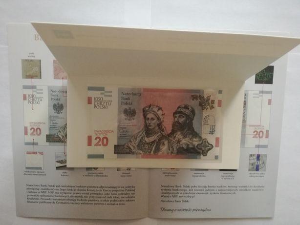 Banknot kolekcjonerski 20zł 1050 rocznica Chrztu Polski + folder
