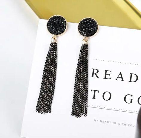 Серьги/сережки длинные блестящие с цепочками нарядные черные