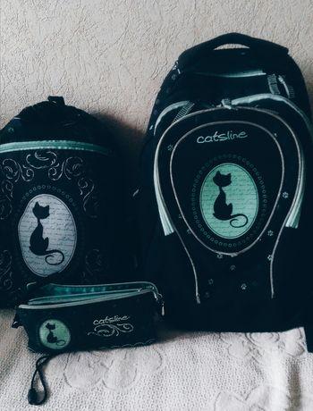 Рюкзак Kite подростковый с котом + пенал и сумка для обуви