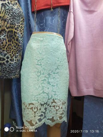 Гипюровая юбочка бирюзового цвета, 42 р