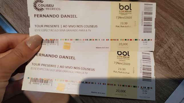 2 bilhetes Fernando Daniel