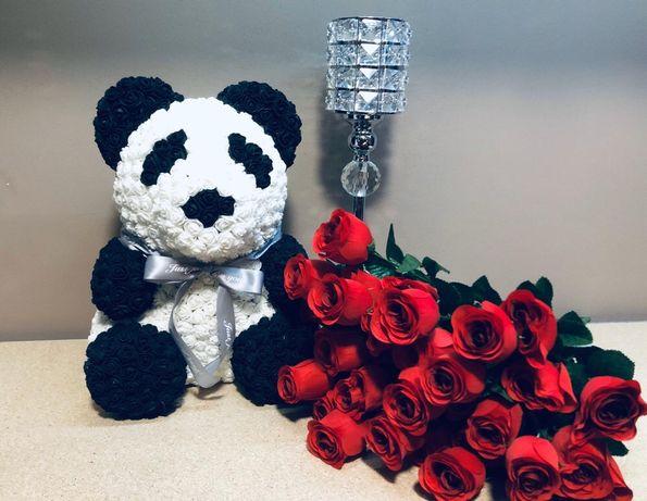 Miś panda/ miś z róż/ różany miś