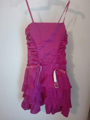 Rożowa sukienka z falbankami dziecięca