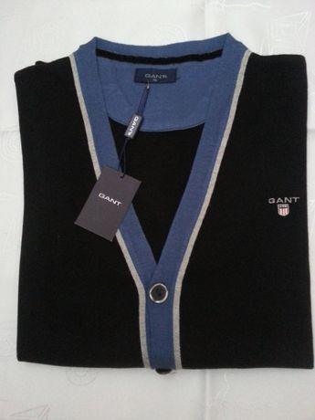 Sweterek Kardigan GANT rozm: L/XL czarny- Pure New Wool