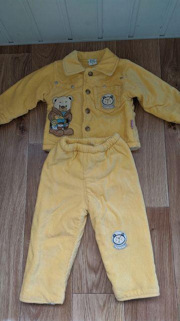 Теплый велюровый костюм на мальчика 12-18 месяцев, 1-1,5 года