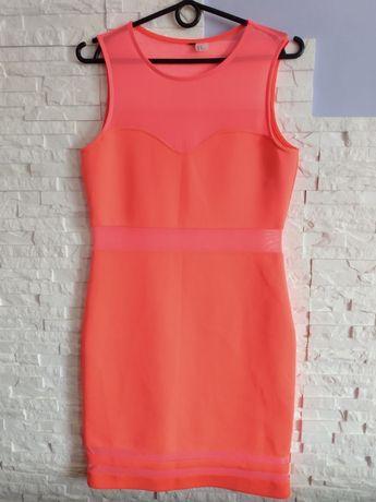 Sukienka neon wstawki z siateczki rozm.L