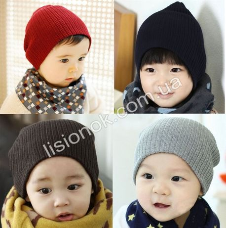 Теплая шапка на весну от рождения и до 4 лет, натуральная