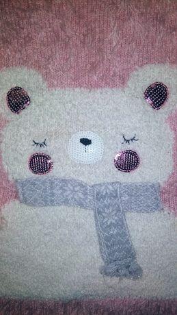 Новогодний,нарядный теплый свитер свитерок,светрик 2-3 г