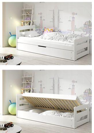 Łóżko pojedyncze białe 200x90, drewno sosnowe