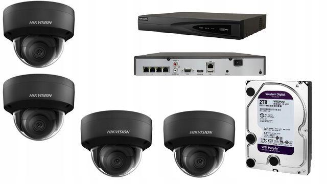 Zestaw Monitoringu Ip Hikvision 4 Kamery 4Mpx Poe