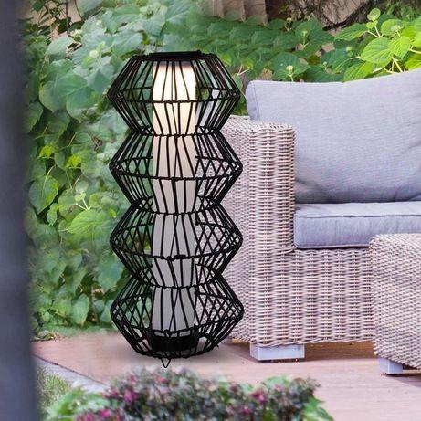 Lampa solarna LED Outsunny, ogrodowa lampa ogrodowa z rattanu, kawa