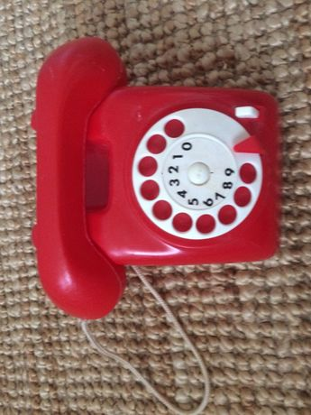 PLASTO vintage telefon z Danii retro zabawka