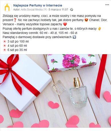 100 ml 60 zł szybka wysyłka Testery Perfum Nowe zapachy