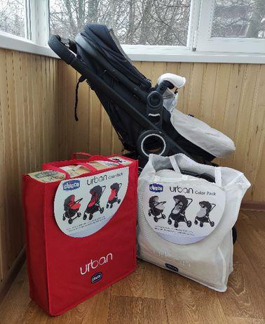 Дитяча коляска Chicco Urban Plus 2 в 1 + 2 комплекти текстилю