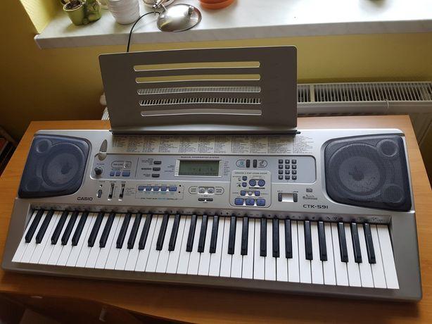 Casio CTK-591 instrument klawiszowy keyboard + stojak + stołek