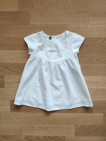 Белое платье сарафан benneton, не h&m, zara, next на 1 - 2 года 80 86