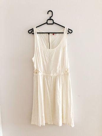 Letnia kremowa sukienka z siateczką H&M 40 L