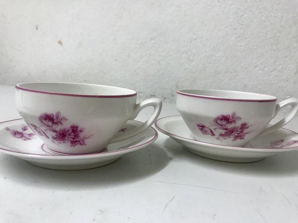 Quatro chávenas de chá muito antigas porcelana coimbra