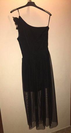 Czarna długa sukienka na jedno ramie S