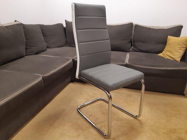 krzesło,krzesła SZARE z białym bokiem ekoskóra chrom NOWE PIĘKNE