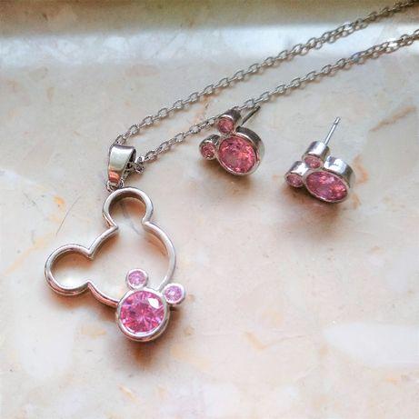 Komplet biżuterii myszka Miki Mickey Mouse kolczyki i naszyjnik