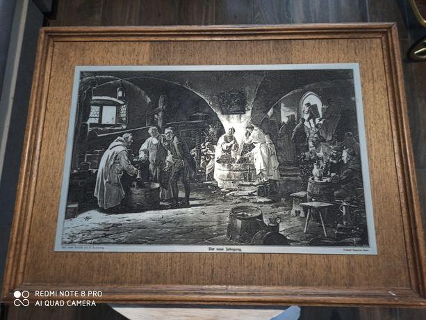Stara rycina miedzioryt obraz Winnica z mnichami