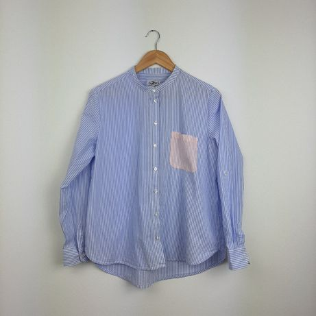 Luźna koszula w paski biały niebieski błękitny Up fashion XL
