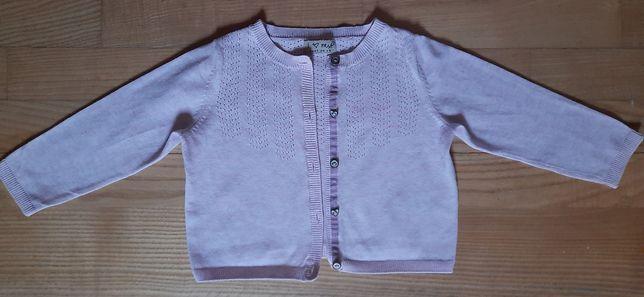 Śliczny różowy kardigan firmyNext, zapinany sweterek na wiek 12-18 mcy