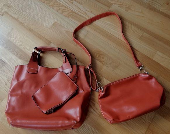 Shopper bag, listonoszka, zestaw, pomarańczowy