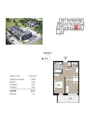 Toruń, Stawki, 2 pokoje, 1pt, balkon