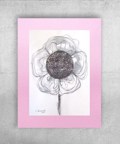 ładny rysunek skandynawski styl, grafika szaro różowa, obraz do salonu
