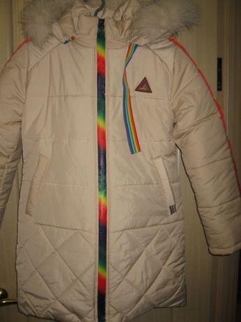 """Зимняя куртка для девочки """"Радуга""""."""