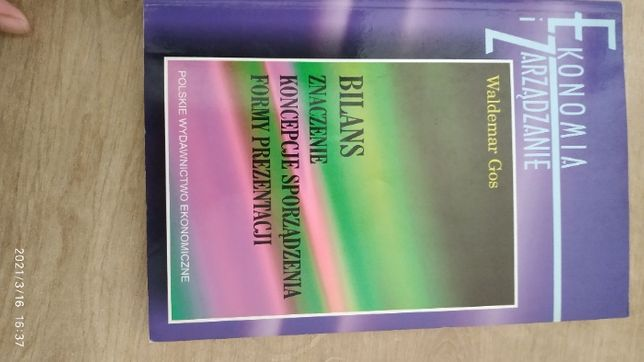 Waldemar Gos, Bilans, znaczenie, koncepcje sporządzania