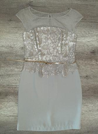 Sukienka złota beżowa koronka BASTET GOLD r. 40