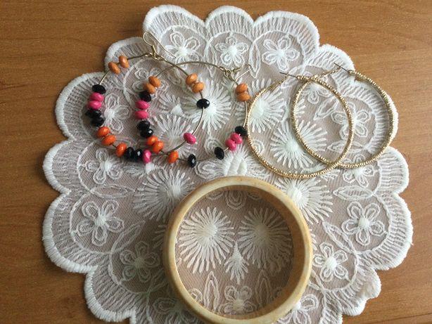 Крупные серьги кольца металл + браслет в подарок, лот бижутерии