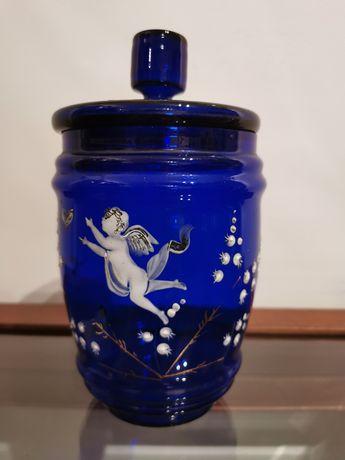 Pote em vidro azul cobalto com pintura esmaltada