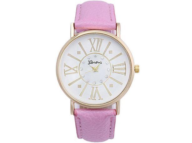 NOWY Zegarek damski Różowy Vintage Pasek Materiał Geneva OKAZJA