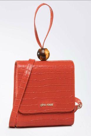 Skórzana torebka Gino Rossi pomarańczowa orange nowa