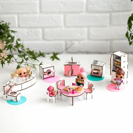 """Мебель для кукол Лол (LOL) NestWood """"КУХНЯ+ВАННАЯ"""" кукольный домик дом"""
