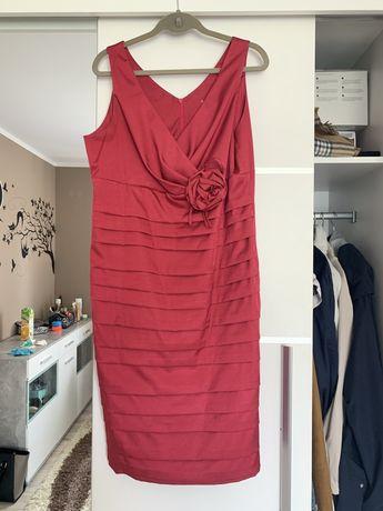Sukienka okazjonalna koktajlowa Bolerko elegancka róża wesele rozm 44