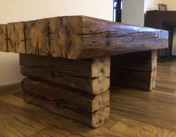 Stolik kawowy rustykalny z bali stare drewno loft