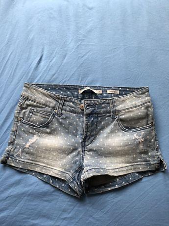 Krotkie spodenki jeans w groszki kropeczki reserved 36
