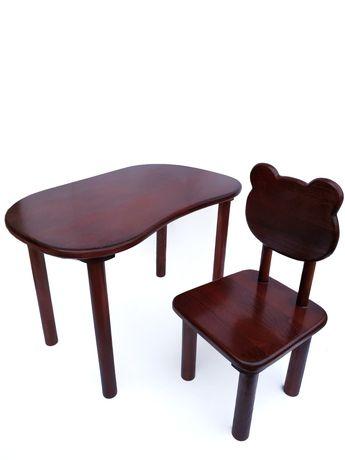 Детский столик и стульчик с натурального дерева, мебель сад
