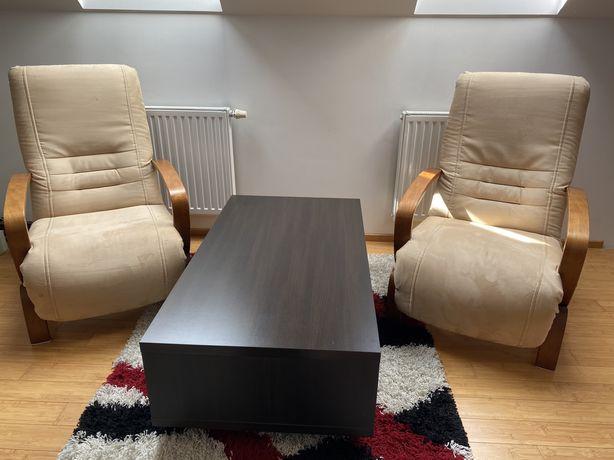 Fotele bezowe nubuk i ława BRW wenge