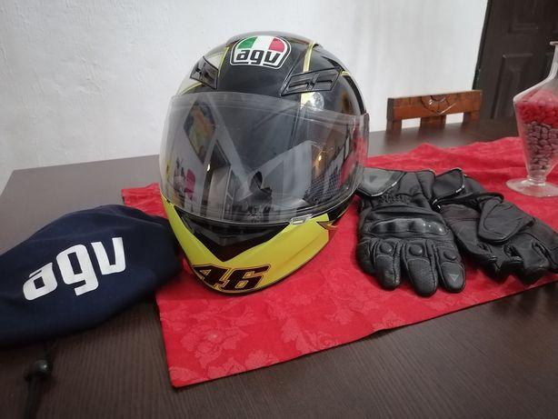 Capacete AVG Valentino Rossi +luvas DAINESE em pele